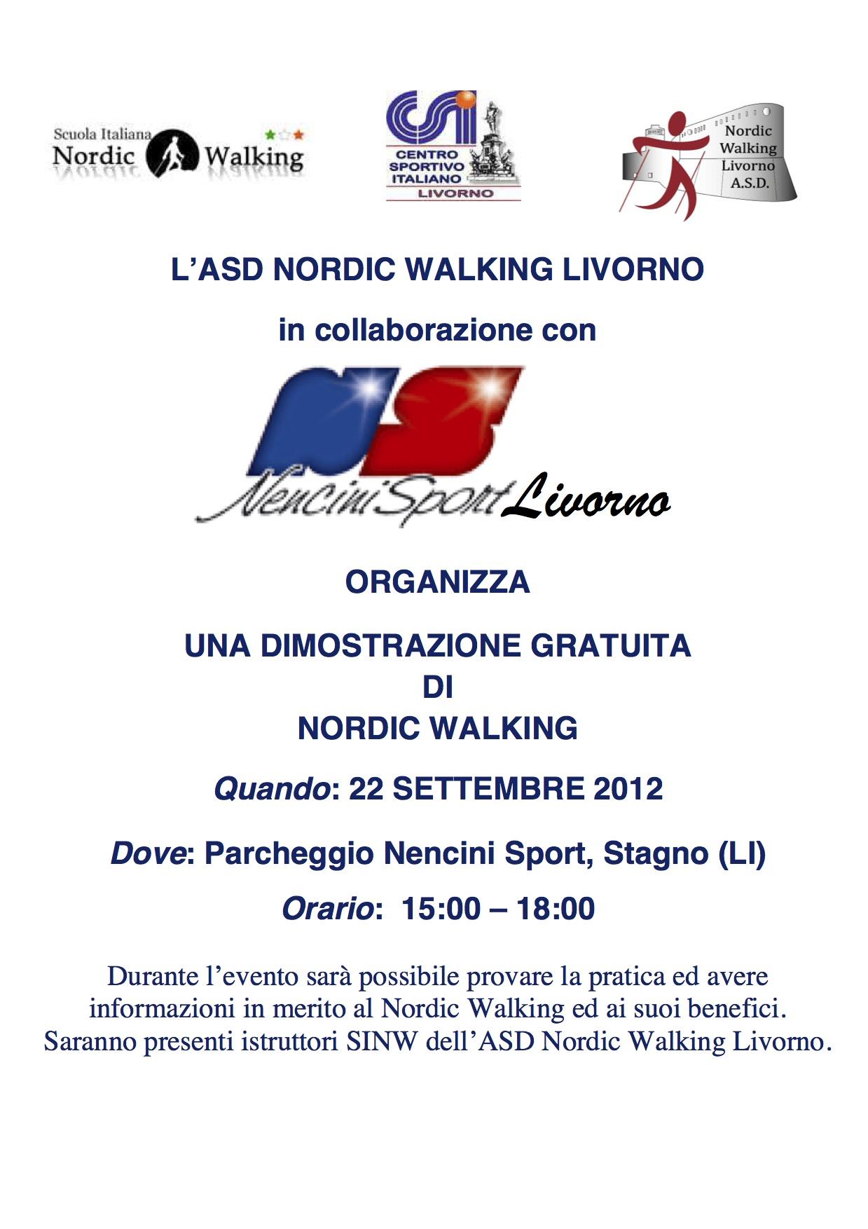 22 Settembre 2012 Lezione Dimostrativa Scuola Nordic Walking Livorno Asd